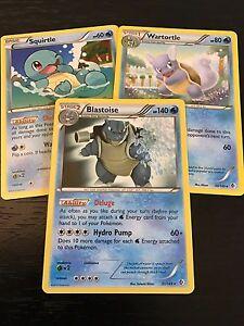 Pokemon-TCG-BLASTOISE-WARTORTLE-SQUIRTLE-3-tarjeta-evolucion-Set-Casi-Nuevo