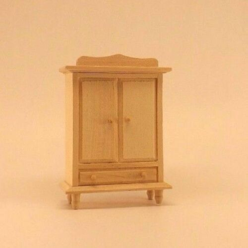Unfinished Wood Pine Wardrobe Armoire Dresser (dollhouse miniature furniture)