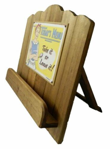 French Country Vintage Inspired Timber Wooden Recipe Book Holder With Sign New