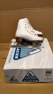 GLACIER 110 YOUTH SIZE 8 GIRLS WHITE FIGURE ICE SKATE MADE BY JACKSON
