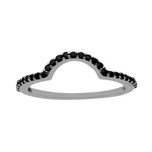 U-Shape-Round-Cut-Black-Spinel-925-Sterling-Silver-Eternity-Statement-Band-Ring