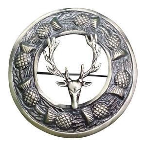 """Écossais Kilt Mouche Plaid Broche Tête De Cerf Finition Antique 3 """"/ Highland"""