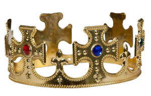 Adults-Gold-King-Queen-Crown-Royalty-Medieval-Fancy-Dress-Accessory