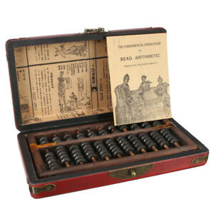 Vintage-Chinese-Wooden-Bead-Arithmetic-Abacus-With-Box-Dragon-amp-Phoenix-Pattern