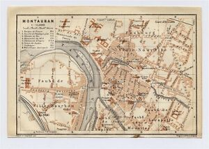 1914 ORIGINAL ANTIQUE CITY MAP OF MONTAUBAN MIDIPYRENEES FRANCE