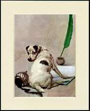 SMOOTH FOX JACK RUSSELL TERRIER SPILLED INK DOG PRINT MOUNTED READY TO FRAME