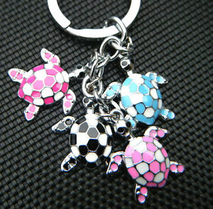 4-PIECE-CUTE-METAL-TURTLE-TORTOISE-PINK-MIXED-KEYRING-CHARM-GIFT-COLLECTABLE-UK