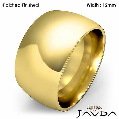 Huge Mens 12mm Solid 18k Gold Yellow Plain Dome Wedding Band Ring 22.7g 12-12.75