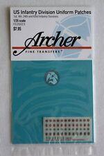 Archer 1/35 U.S. 1st, 4th, 24th & 63rd Infantry Division Uniform Patches FG35023