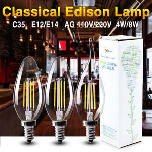 TSLEEN E14 4W 8W COB LED RÉTRO EDISON FILAMENT AMPOULE VINTAGE BOUGIE LUMIÈRE