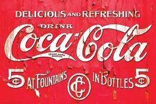 COCA COLA - VINTAGE SIGN POSTER - 24x36 SHRINK WRAPPED - COKE LOGO 241019