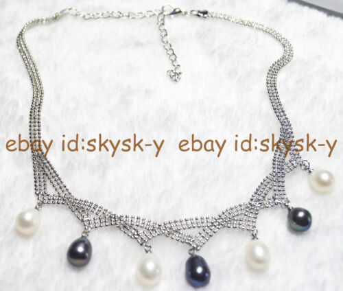 7-8mm Black White Multi-colored Akoya Cultured Pearl Necklace AAA+ Charming