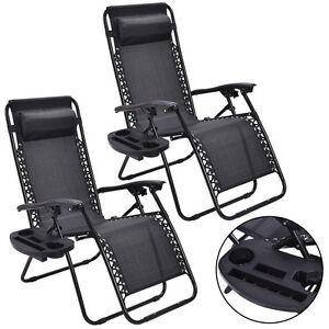 2PC-Zero-Gravity-Chairs-Lounge-Patio-Folding-Recliner-Outdoor-Black-W-Cup-Holder