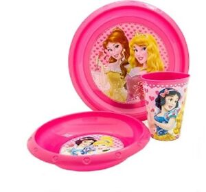 Baby-Kinder-Geschirr-Set-Teller-Schale-Becher-Disney-Prinzessin-NEU-amp-OVP
