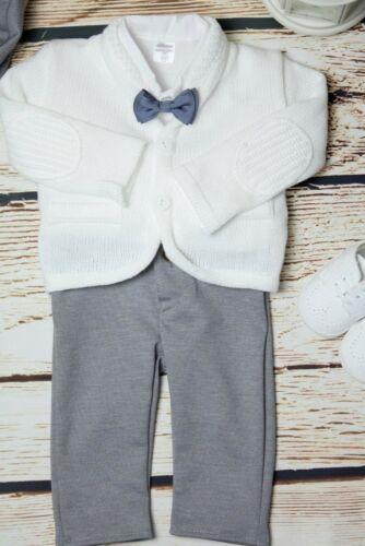Baby Boy White Outfit Smart Set Soft Cardigan Wedding Suit Christening Baptism