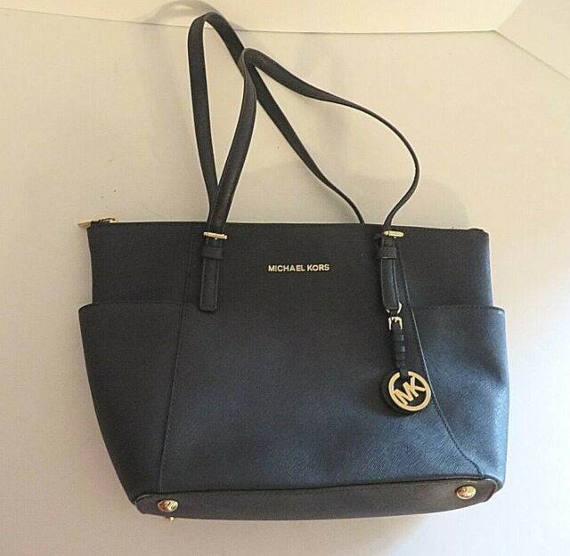 92983c5dad87 Michael Kors Electric Pewter Saffiano Leather Jet Set Travel Crossbody Tote