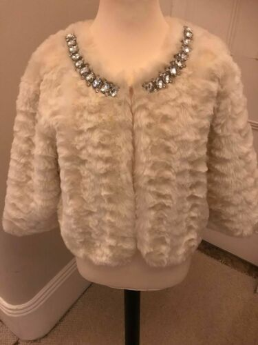 Faux Size Cream Jacket 21 uk10 Medium Forever bnwot Fur AZ6qBwxZE