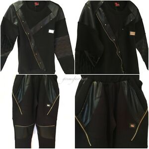 Time-is-Money-G-tracksuit-slim-fit-034-club-star-034-hip-hop-mens-faux-leather-black