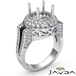 1.1Ct Diamond Engagement Ring Round Cut Semi Mount 18k White Gold Halo Pave Set