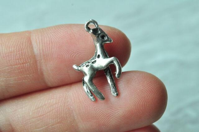 20pcs Antique Silver 3D Deer Charm Pendant Steampunk Punk Necklace Craft Plated