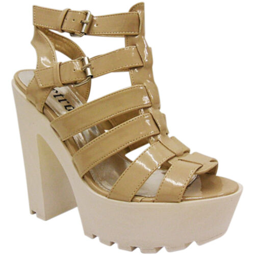NEW LADIES  HIGH HEEL CHUNKY PLATFORM STRAPPY CLEATED SANDAL SHOES PEEP TOE SIZE