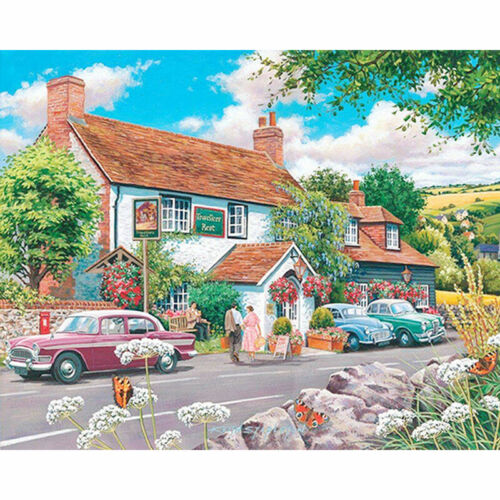 Full Drill Diamond Painting Landscape Lodge Beautiful Countryside Town ZY104G