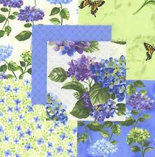 "Hydrangea's 30 4"" fabric squares 100% cotton quilting quilt butterflies"