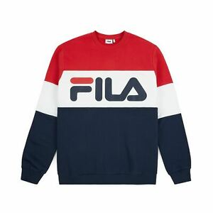 FELPA-FILA-UOMO-681255-BLU-ROSSO-GIROCOLLO-100-COTONE-FELPATA-NUOVA-ORIGINALE