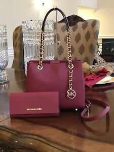 8bf9284305aa AUTHENTIC MICHAEL KORS SUSANNAH MD NS TOTE LEATHER HANDBAG+WALLET ...