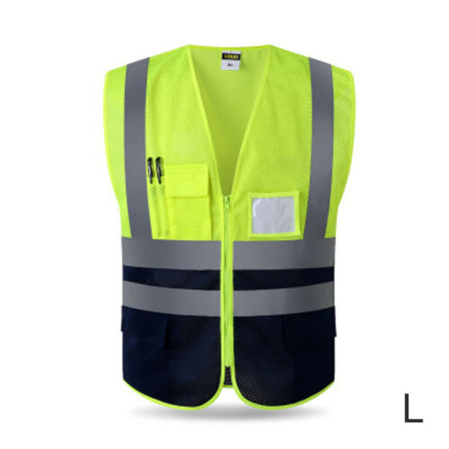 Reflective Zipper Vest Construction Safe Protective Jacket Safety Waistcoat Warp