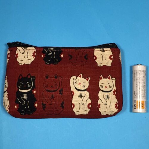 F//S Mini Rectangle Pouch Maneki Neko Money Fortune Cat Cute Kawaii Red Kyoto