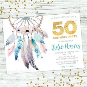 Image Is Loading 50TH BIRTHDAY INVITATIONS FIFTY PERSONALISED PARTY SUPPLIES INVITE