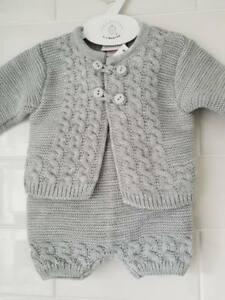 3dd9b8949e65 Spanish Style Baby Boys Grey Knitted 2 Piece Jacket   Shorts Set ...