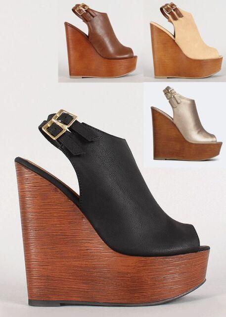Womens Faux Wooden Wedge Heel Slingback Peep Open Toe Sandal PU-Leather Platform