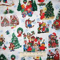 Suzy's Christmas Fabric - Animal Holiday Scenes White - Hoffman Yard