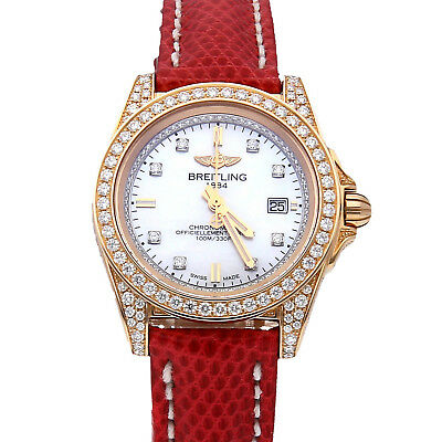 New Breitling Galactic Sleek Edition LE Gold Quartz Ladies Watch H7133063/A804