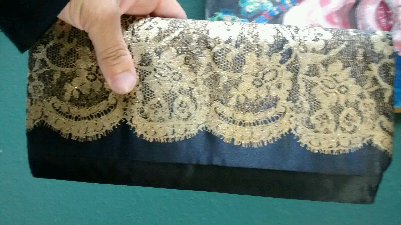 mod clutch fancy cocktail black satin gold lace printed new HOLIDAY NYE BAG hot.