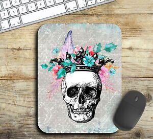 Floral Skull Mouse Pad Easy Glide Non Slip Neoprene