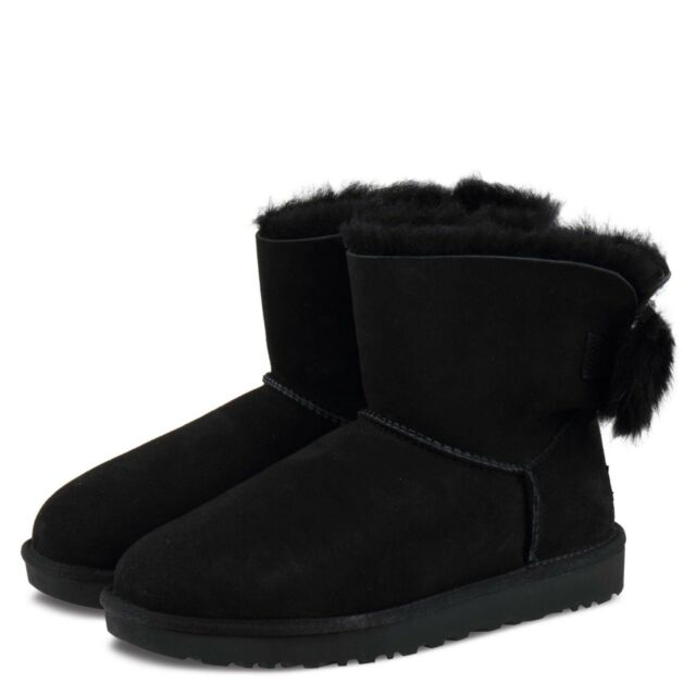 UGG Womens BOOTS Mini Fluff Bow Black Size 8 for sale online  136dbcbe7