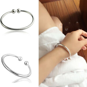 Women 925 Silver Plated Beads Matte Chain Bangle Cuff Charm Bracelet ... b50489f0cb