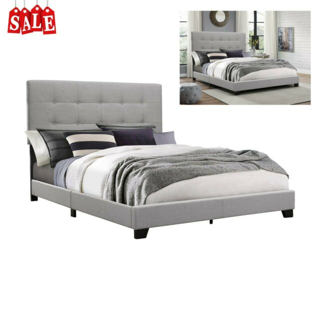Gray King Queen Size Wood Platform Bed Frame With Tufted Headboard Upholstered For Sale Online Ebay