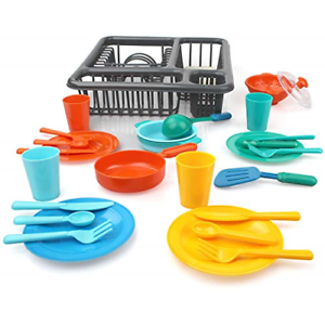 Details about 27 PCS Pretend Play Kitchen Set for Kids Kitchen Toys  Tableware Dishes Playset