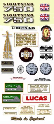 BSA Lightning 750 1971-72 BSA A70L Restorers Decalset
