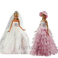 2 Princess Evening Wedding Party Clothes Dress Lot Wears Outfit For Barbie Doll
