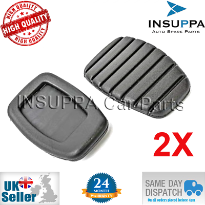 2X Black Clutch Pedal Pad Rubber Cover For RENAULT Clio Espace Laguna Trafic