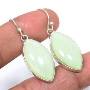 """Australian Lemon Chrysoprase Gemstone 925 Sterling Silver Earring1.6"""" S1951"""