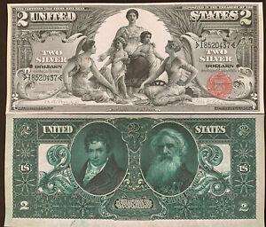 Reproduction $2 Bill Educational Note 1896 Silver Certificate Morse Fulton