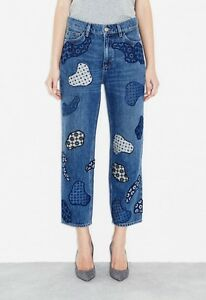 NWT MiH Jeanne Jean High-Rise Vintage Straight Embroidered Boyfriend Crop - Cell