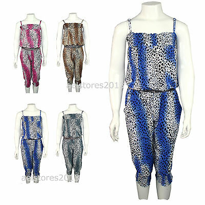 Jumpsuit Dress Leopard Print All In One Summer Holiday New Girls Age 2-14 years