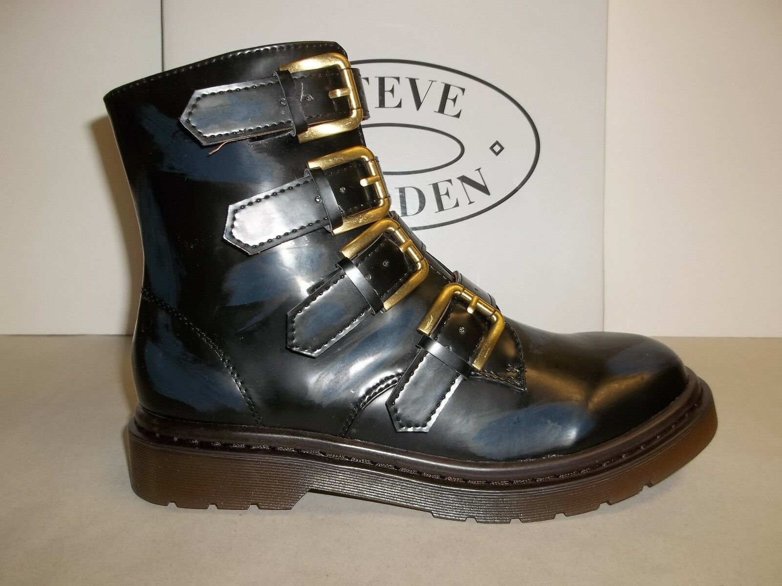 Steve Madden Sze 7.5 M MCBETH Navy Splashes Fashion Ankle Boots New Womens shoes